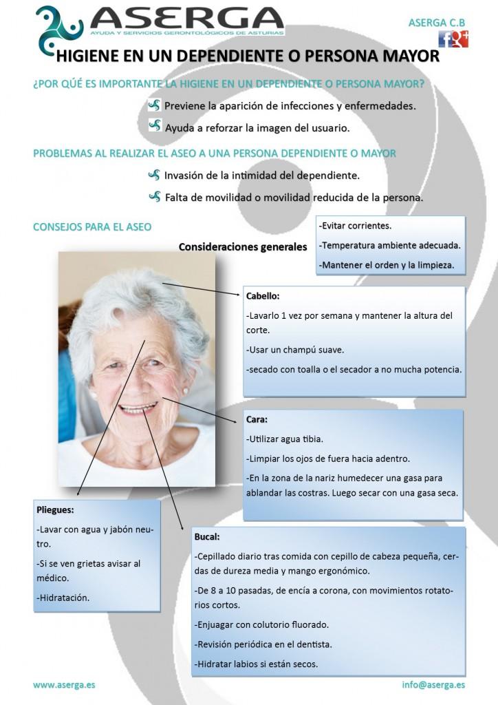 Higiene y cuidados en personas mayores y dependientes.
